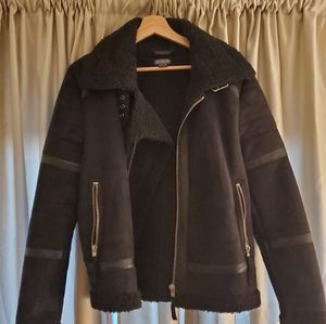 H&M Suede leather jacket with faux shearling